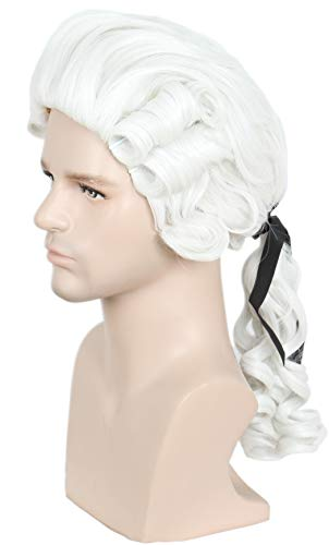 Linfairy Lawyer Curly Wig Halloween Cosplay Costume Wig For Party (White Blonde)