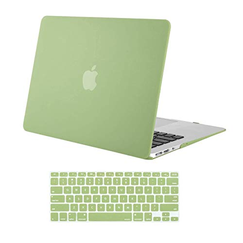 MOSISO Compatible with MacBook Air 13 inch Case Old Version 2010-2017 Release (Models: A1466 & A1369), Plastic Hard Shell Case & Keyboard Cover Skin, Avocado Green