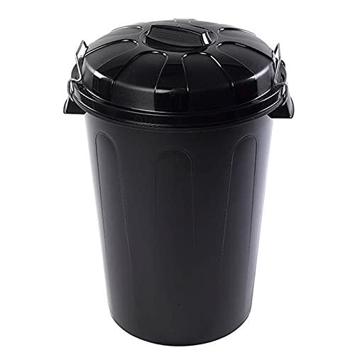 Acan Plastic Forte - Cubo de Basura plástico Negro con Asas 100 litros, 74,5 x 57 x 52 cm, contenedor de residuos, Papelera con Tapa, Recipiente Reciclaje, Cierre Seguro, Industrial, hogar