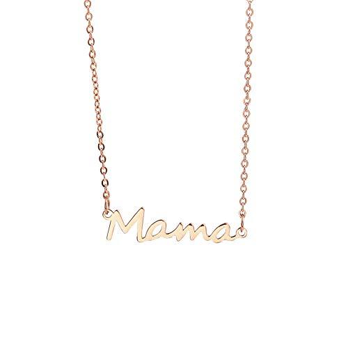 WJLGKSZG Mamá Carta Collar Mamá Colgante Collar Delicado Palabra Cadena Regalos para Las Mujeres Día De La Madre Dainty Daily Jewelry,Rose Gold