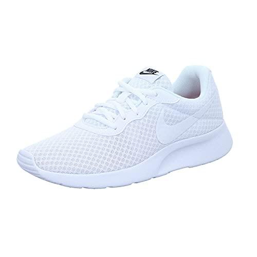 Nike Womens Tanjun Running Shoe White/White/Black 6.5