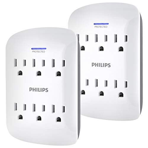 Philips 6-Outlet Surge Protector Outlet Extender, 2 Pack, 900 Joules, 3-Prong, Space Saving Design, Protection Indicator LED Light, White, SPP3466WA/37