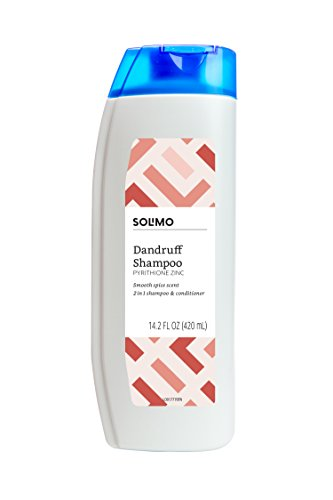 Amazon Brand - Solimo 2-in-1 Dandruff Shampoo and Conditioner for Men, Smooth Spice, 14.2 Fluid Ounce
