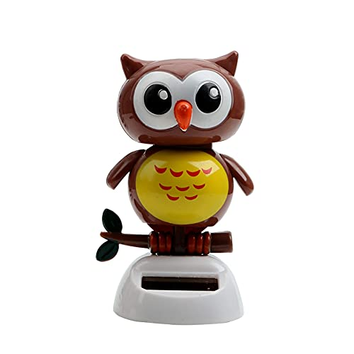 DONGMAISM Car Ornament Car Indoor Dashboard Decoration Cute Owl Birds Automatic Shaking Head Toy Solar Powered Truck Off Road 4x4 Car Accessories (Farbname : Coffee)