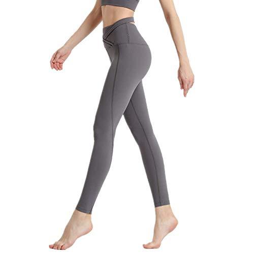Yoga Soft Naked-Feel Workout Gym Yoga Medias Mujeres Squatproof Cintura Alta Fitness Sport Leggings Gris