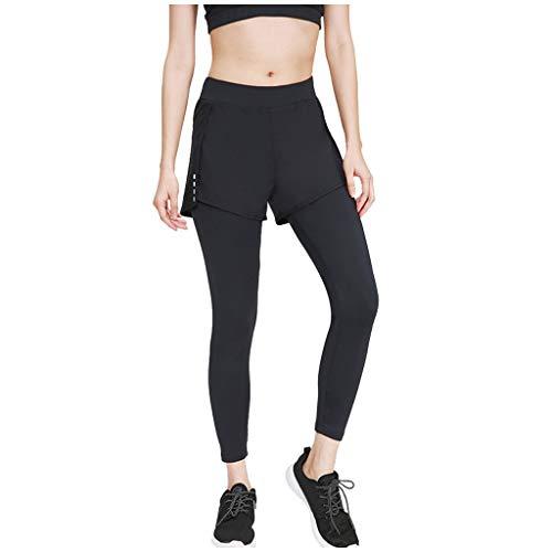 Linkay Damen Sporthosen Fitnesshose Leggings Frauen Gefälschte Zweiteilige Yogahose High Waist Running Elastische Yoga Hosen (Schwarz,Large)