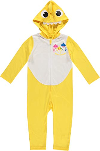 Pinkfong Baby Shark Baby Boys Cosplay Hooded Costume Coverall Romper 12-18 Months Yellow/White