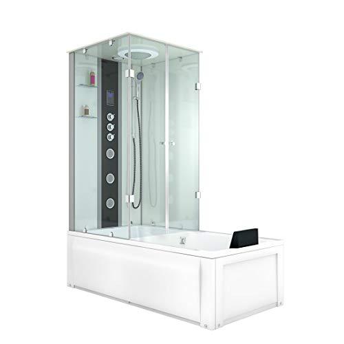 AcquaVapore DTP50-A007R Whirlpool Wanne Duschtempel Dusche Duschkabine 90x180 JA mit 2K Scheiben Versiegelung