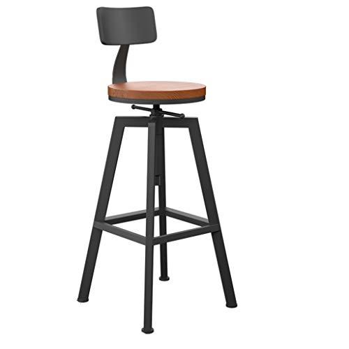 Smeedijzer Barkruk, massief houten zitvlak Old Style Hoge Kruk zithoogte: 65~85cm Barkrukken (Color : B)
