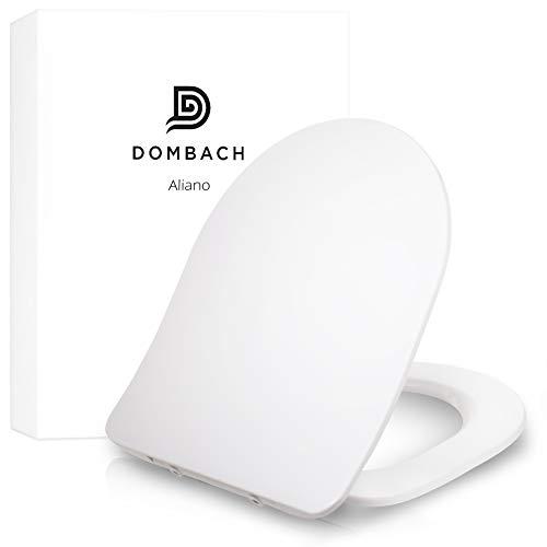 Dombach® Aliano Premium Toilettendeckel weiß D-Form Slim-Design - der exklusive WC-Sitz mit Absenkautomatik - abnehmbar - familienfreundlich antibakteriell aus Duroplast und rostfreiem Edelstahl