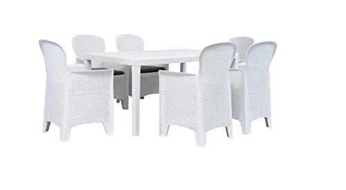 Tomaino Tavolo e sedie da Giardino in plastica Simil Rattan (Bianco)