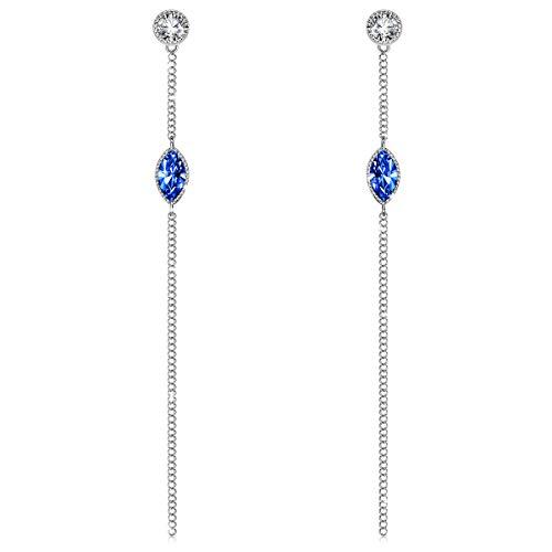 J. RENEÉ Pendientes Mujer Largos, con Cristales de Swarovski Azul, Pendientes Mujer, Joyas para Mujer