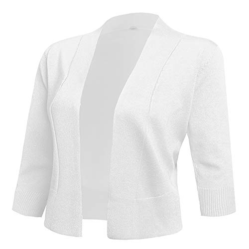 AAMILIFE Women's 3/4 Sleeve Cropped Cardigans Sweaters Jackets Open Front Short Shrugs for Dresses White L