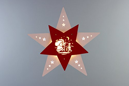 "Fensterbild/Fensterbeleuchtung Stern\""Knecht Ruprecht\"" Weiß/Rot LED"