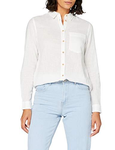Springfield 7.T.Camisa M/L Lino-C/97 Blusa, Blanco (White_Print 97), 44 (Tamaño del Fabricante: 34) para Mujer