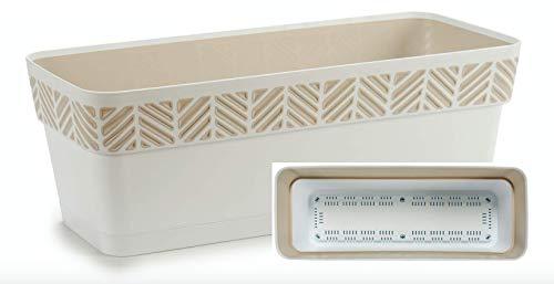 TIENDA EURASIA® Maceta de Plástico - Diseño Geométrico Rayas - 3 en 1- Maceta + Bandeja Interior + Bajoplato (Blanco, 50 cm Rectangular)