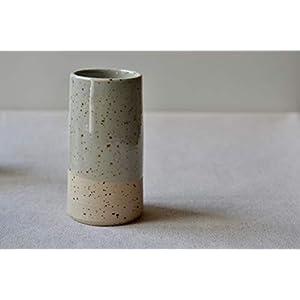 Handmade Speckled Clay Bud Vase with Pale Celadon Glaze, Vertical Stoneware Vase for Small Flower Arrangements, Blue…