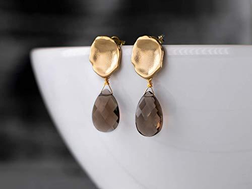 Edle Ohrstecker braun-gold mit Rauchquarz, matt-vergoldetes Blatt, Edelstein-Ohrringe, ein handmade Geschenk für Sie