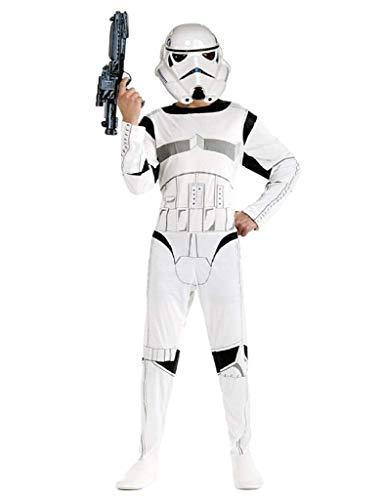 Costume Star Wars Carnevale Bambino Vestito Stormtrooper Travestimento Guerriero Bianco (Taglia L) 9-10 Anni Cosplay Ottimo Regalo Per Natale O Compleanno