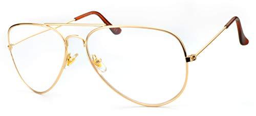 NEWVISION® NV8132 Lesebrille, Lesebrille, Lesebrille mit Metallrahmen, Retro Fliegerbrille +1.50 gold