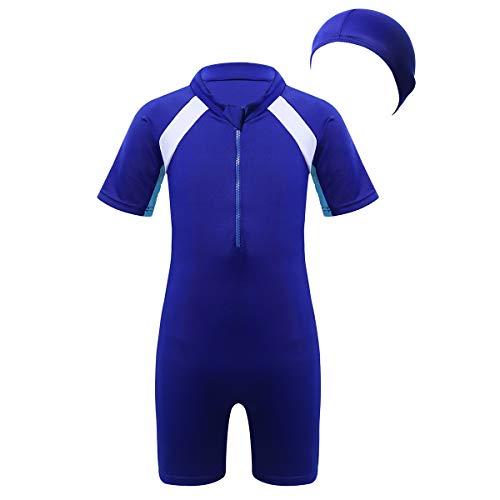 Agoky Kinder Jungen Mädchen Einteiliger Badeanzug Kurzarm Bademode Mit Reißverschluss UPF 50+ UV Schützend Badeshirt Shorts Sonnenhut Schwimmanzug Blau 140-152/10-12 Jahre