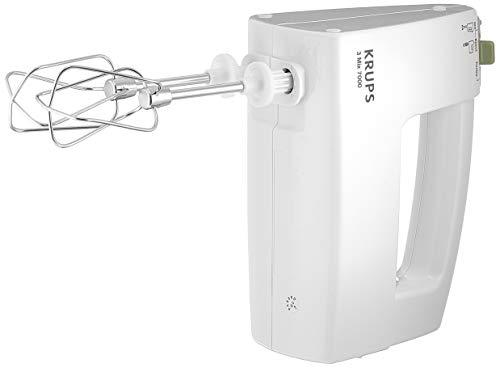 KRUPS 3 MIX 7000 Handmixer F6081 (500W, ergonomischer Griff des Mixers, stufenloser Geschwindigkeitsregler + Turbo- & Auswurftaste, Schneebesen & Knethacken aus Edelstahl, bis zu 1kg Brotteig) Weiß