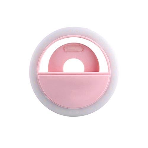 Gusspower - Anillo de luz LED para selfie con cámara LED para selfie Live luz multifunción, espejo de maquillaje, recargable, clip de luz para bonitas fotos o vídeos, Rosa.