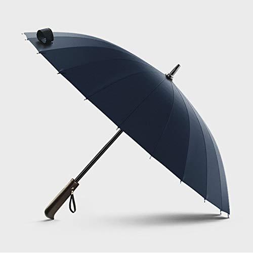 LISYS Paraguas de Golf, Paraguas de Palo de 39'/ 100 cm con 24 Varillas y Mango de Madera Maciza, Paraguas Recto de Mango Largo Impermeable a Prueba de Viento para Hombres y Mujeres