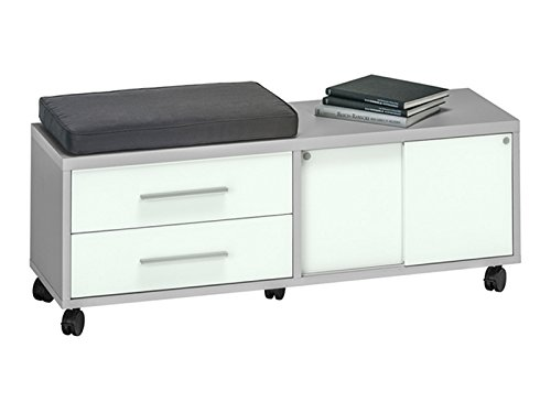 """Rollcontainer Rollwagen Schubladenschrank Bürocontainer Büroschrank """"SetOne I"""" (Platingrau/Weißglas)"""