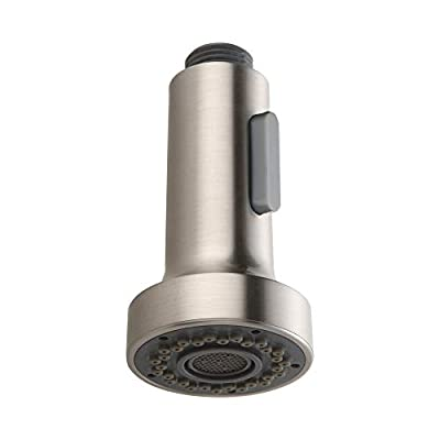 HOMELODY Pull Down Faucet Replacement Head, 2 Functions Kitchen Faucet Sprayer Head, G 1/2 Pull Out Spray Head for Kitchen Faucet, Brushed Nickel Kitchen Sink Faucet Head cabeza de reemplazo del grifo