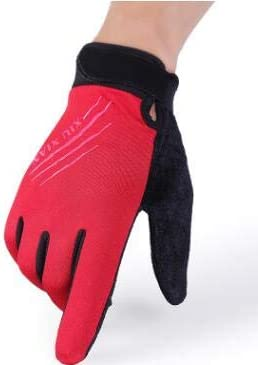 Autumn and Winter Men and Women's Thicken Warm Touch Screen Gloves Male Winter Elastic Breathable Riding Sports Glove R089 - (Color: A red, Gloves Size: Women)
