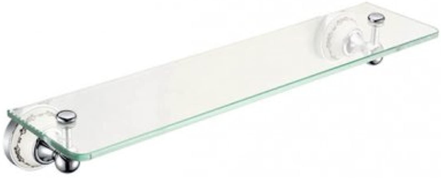 Art Platino NIK-57083 Brass Chromed Glass Shelf - White Grey