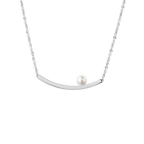 Collar Ernstes Design K819 colgante con perla de acero inoxidable cadena de ancla