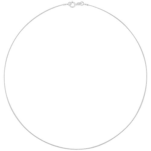 Sterling Silver Wire Cable Necklace Very Thin 0.8mm Wide 16 inch Long 20 Gauge