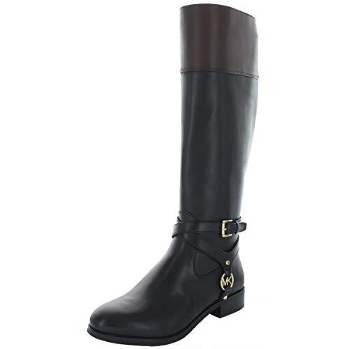 MICHAEL Michael Kors Women's Preston Leather Tall Riding Boots, Black/Brown (numeric_5_point_5)