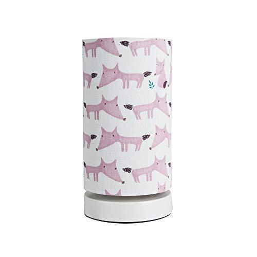 Pauleen 48037 Cute Fox Tischleuchte max. 20W Tischlampe für E27 Lampen Kinderzimmerlampe Creme Rosa Fuchs Metall/Stoff ohne Leuchtmittel, Weiß,Pink
