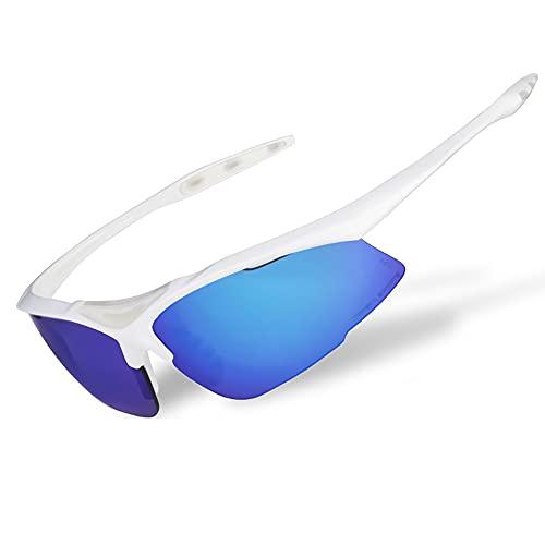 Mifty Gafas De Sol DeportivasHombres Y Mujeres, Gafas De Sol Deportivas con Lentes De Espejo, Gafas De Sol para Ciclismo, Carrera, Triatlón, Voleibol De Playa Y Senderismo (Color : White Blue)