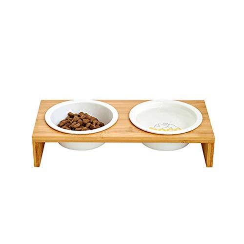JIANXIN Katzennäpfe, Futternäpfe, Bambus-Holz-Esstische, Keramikgeschirr, geeignet für alle Arten von Katzen. (größe : M)