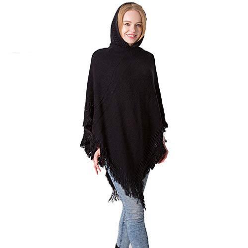 Qiminclo Damenschal Tücher und Wickel Frauen Farbe Strick Quaste Asymmetrischer Saum Poncho Pullover Pullover Schal (Farbe : Schwarz)
