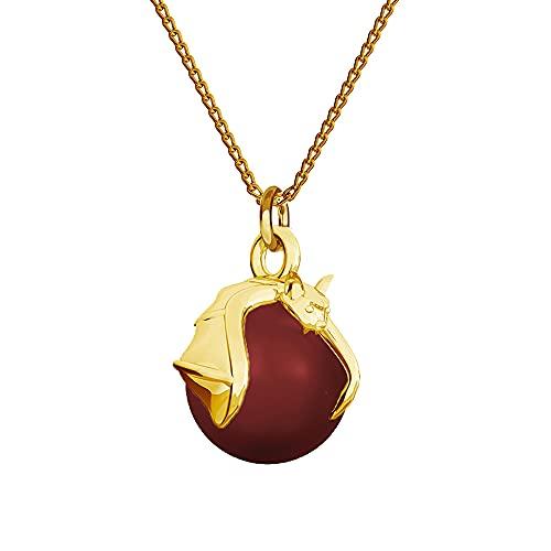 Collar de plata de ley 925 chapada en oro de 24 quilates con perlas de Swarovski – murciélago – Coral rojo – Cadena con colgante para mujer – Bonita joya para mujer con caja de regalo