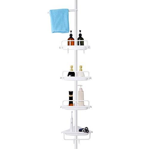 FRDECON Pole Shower Caddy Tension Corner Rustproof Stainless Steel 4 Tier Adjustable Bathroom Shelf 56114 inches Matte