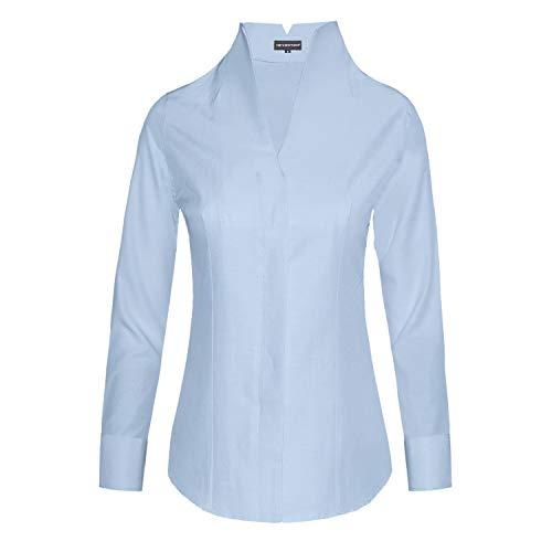 HEVENTON Damen Bluse Hemdbluse mit Stehkragen leicht tailliert bügelleicht Kelchkragen elegant festlich auch für Business Farbe Hellblau, Größe 42