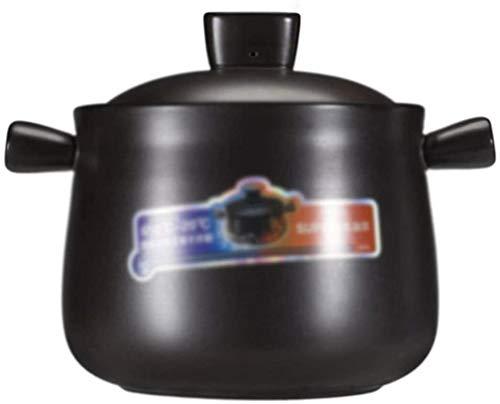 DUDDP Cacerola Casserole 4.5L Pote de Piedra, Olla de cerámica, Olla de Barro-Negro, con Cubierta, Resistencia a Alta Temperatura