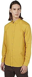 Splash Cotton Basic Regular-Fit Long Sleeves Shirt for Men - Mustard, S