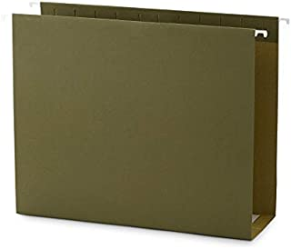 Blue Summit Supplies Extra Capacity Hanging File Folders, 25 Reinforced Hang Folders, Heavy Duty 4 Inch Expansion, Designed for Bulky Files and Charts, Letter Size, Standard Green, 25 Pack