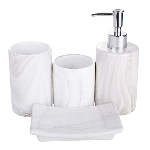 COOSA Ceramic Bathroom Accessories Set, 4 Pieces Bath Ensemble, Bath Set Collection Marble Pattern Soap Dispenser Pump, Toothbrush Holder, Tumbler, Soap Dish (Marble Design)