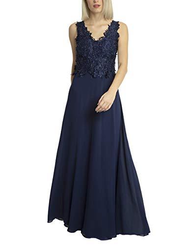 APART Elegantes Damen Kleid lang, Abendkleid, Ballkleid, Spitze mit Perlen Bestickt, weiter Chiffonrock, Navy, 36