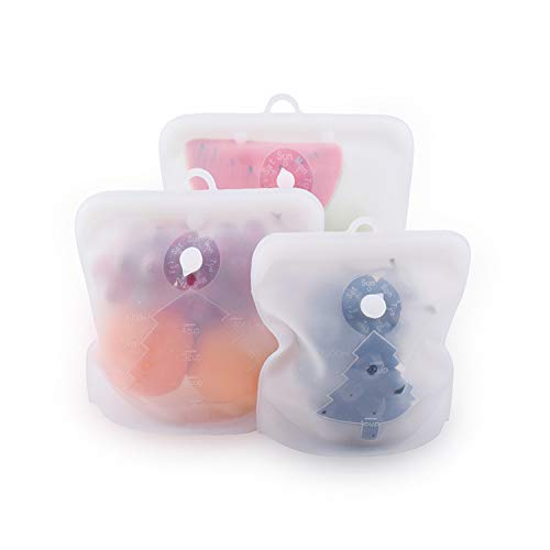 MOYENNE Reusable Food Storage Bags Eco-Friendly Silicone Fresh Bags Plastic Free Bag For Food Eco-friendly Non-ToxicFreezer BagsWhite 18oz35oz53oz