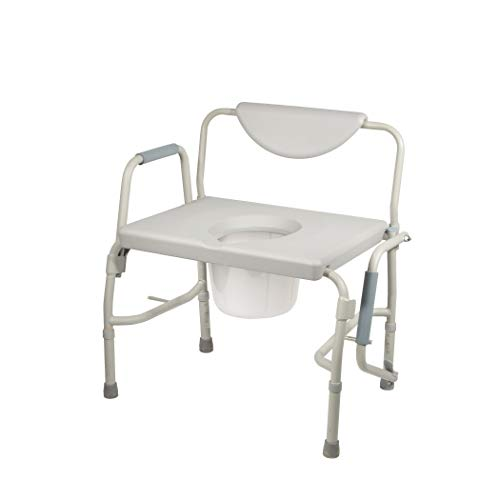 Drive Medical Deluxe Bariatric Drop-Arm Commode, Grey