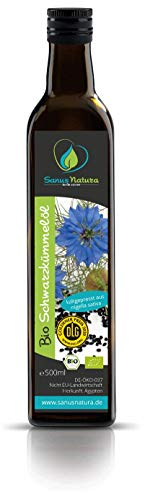 Sanus Natura Bio Schwarzkümmelöl 500 ml Ungefiltert, kaltgepresst mühlenfrisch direkt vom Hersteller